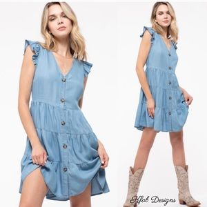 New! Chambray Button Down Ruffled Tiered Dress